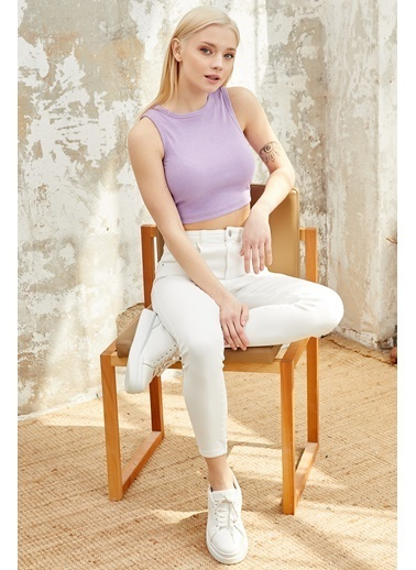 Reyon REYON Kadın Sırt Dekolteli Bağcıklı Sıfır Kol Crop Bluz Lila Lila